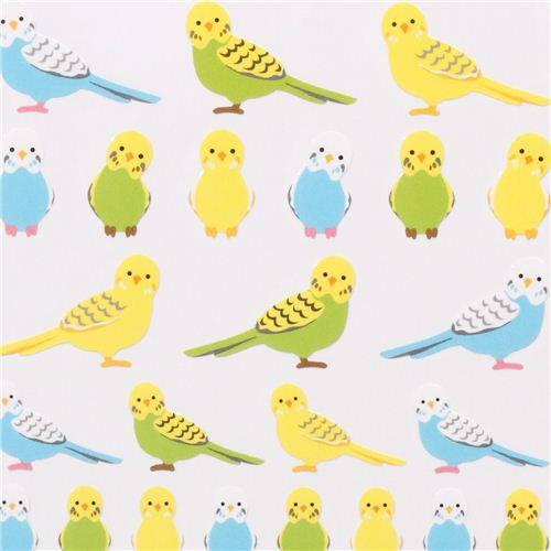 Budgie clipart blue and yellow Japan and stickers stickers budgies