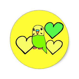 Budgie clipart green Sticker Classic Hearts Budgie Stickers