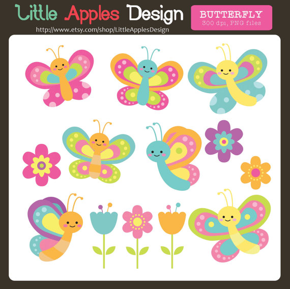 Papillon clipart bug / Flower Clipart Bugs Butterfly