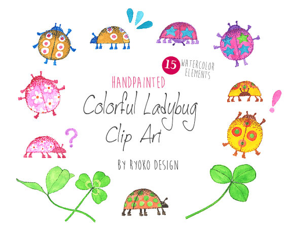 Bugs clipart summer  Colorful Summer lady Etsy