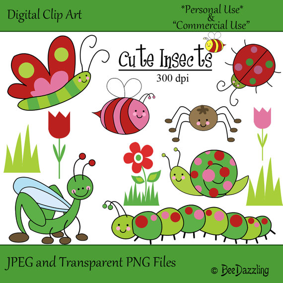Bug clipart whimsical $5 Insects Whimsical INSTANT Insects