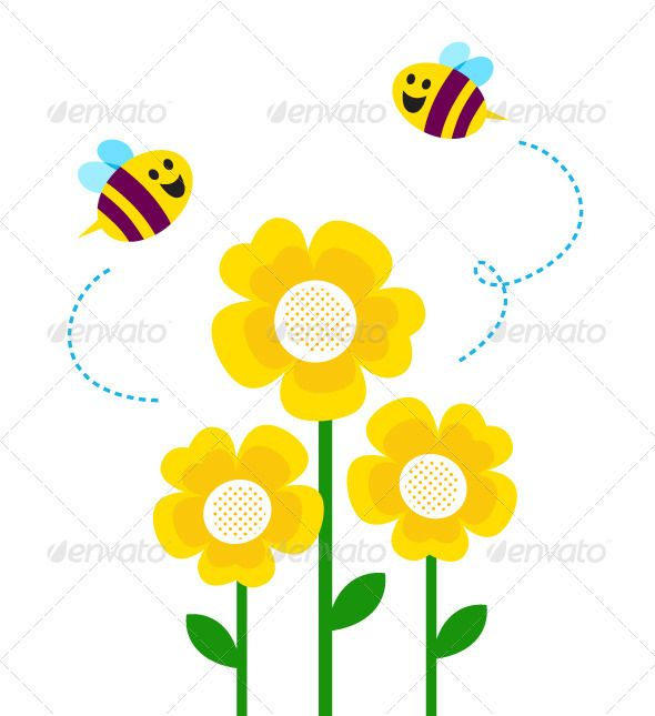 Bugs clipart little flower Bug around The bees ideas