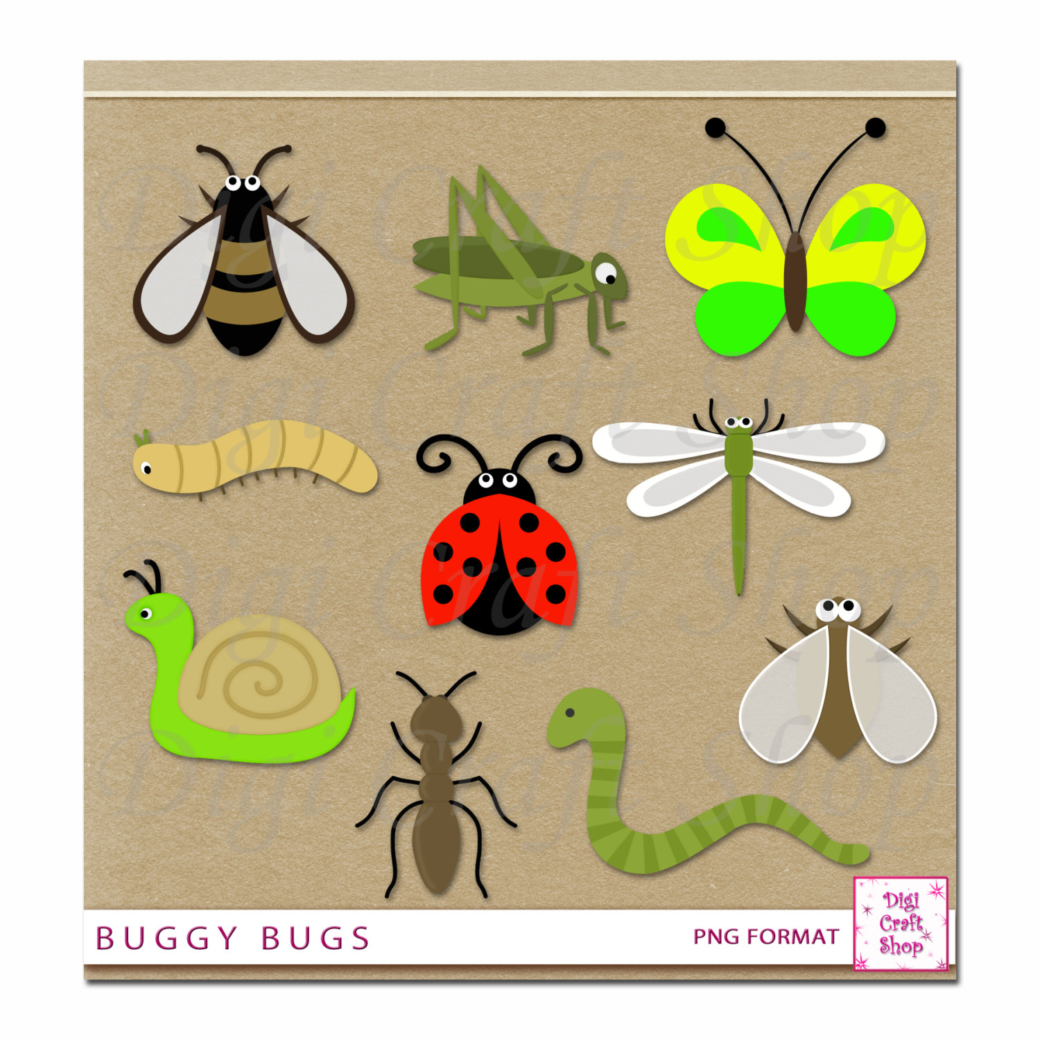 Bugs clipart worm Clipart Digital caterpillar Instant and