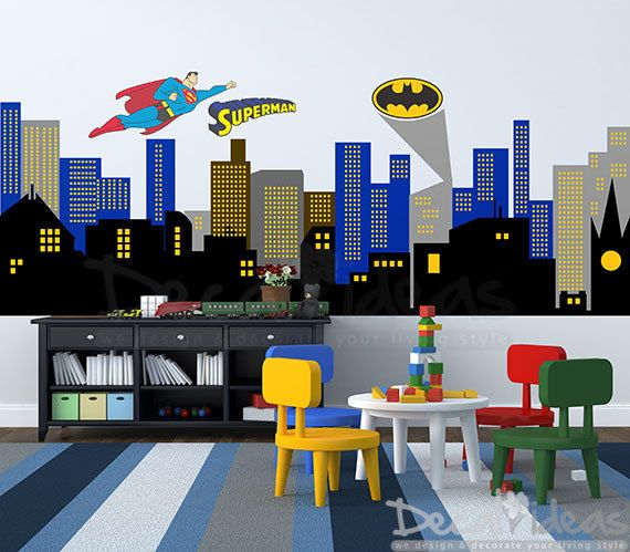 Building clipart gotham city Nursery Decal Decal Superhero Room