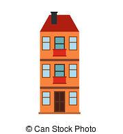 Hosue clipart three story Three house  of Stock