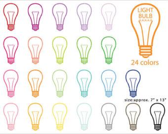 Bulb clipart rainbow light Bulb Rainbow/ Light Stickers Planner