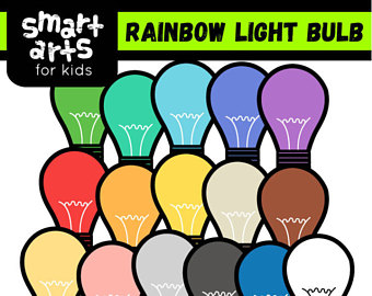 Bulb clipart rainbow light Light Etsy Rainbow art Digital