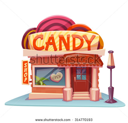 Building clipart candy store Vector Candy Vector bright illustration