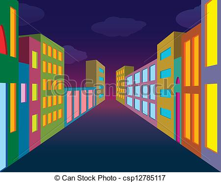 Building clipart city street City of with csp12785117 neon