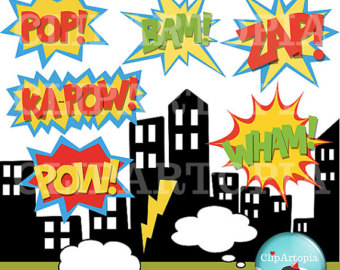 Building clipart comic book Bubbles Text Etsy and /