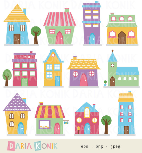 Hosue clipart cute Clip clipart jpeg neighborhood buildings
