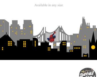 Building clipart gotham city Batman Superhero decor Wall City