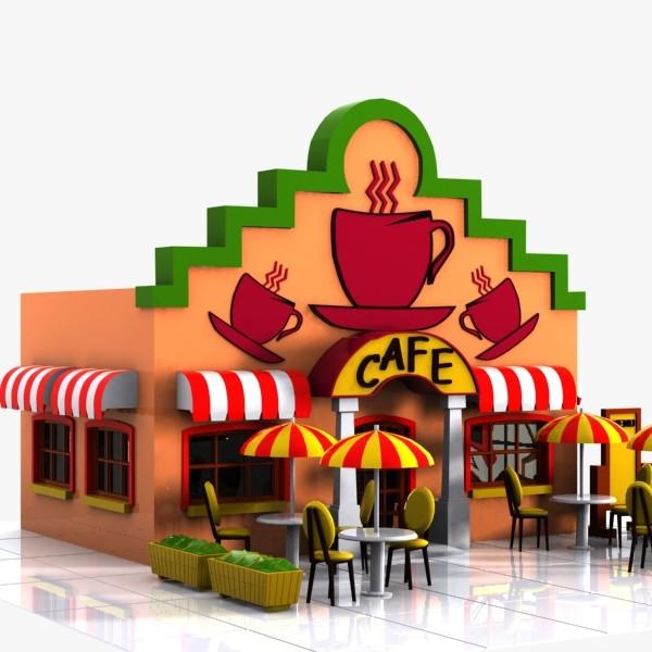 3D clipart restaurant Toon 3d Pinterest cartoon city