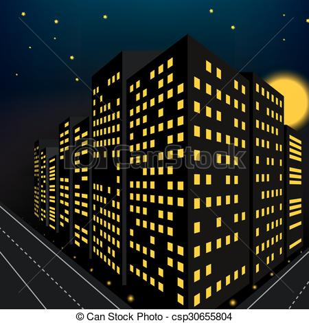 Bulding  clipart night Building perspective perspective  Vector