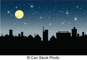 Bulding  clipart night Night moon of Night and