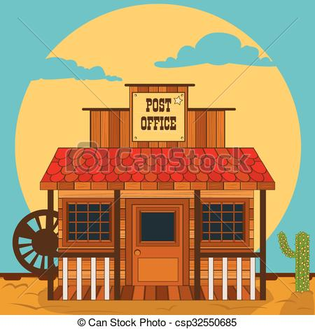Building clipart old west Vector Old post western building