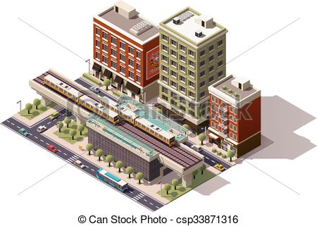 Building clipart subway station City  isometric Vector Art