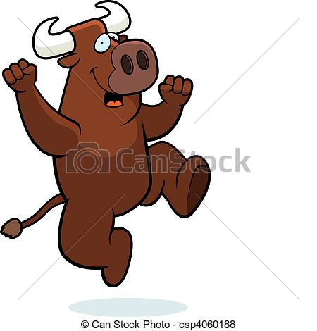 Bull clipart happy Happy Jumping smiling bull and
