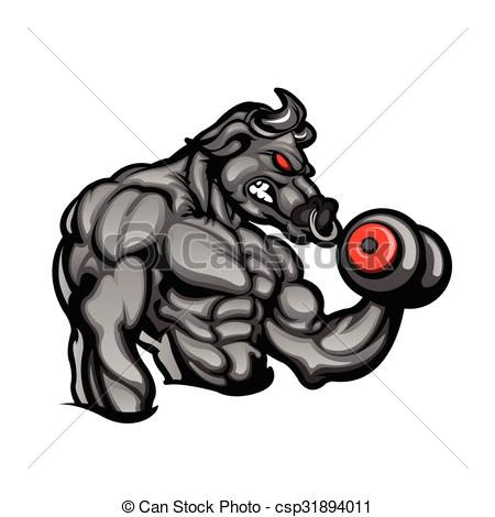 Bull clipart muscular  Art Strong a angry