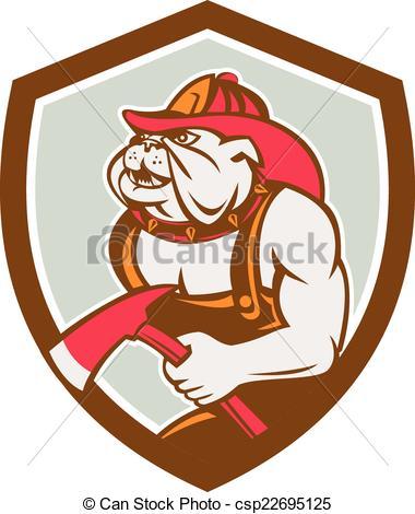 Firefighter clipart bulldog With Fireman Axe Shield