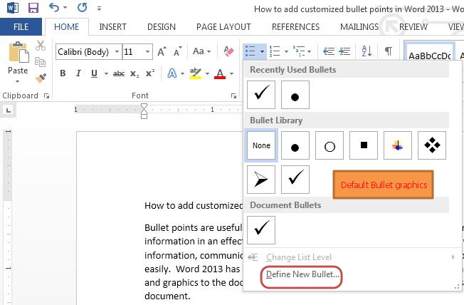 Bullet clipart word Custom in bullets Word 2013