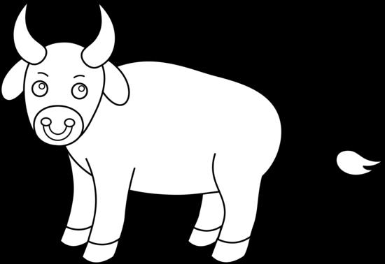 Bull clipart black and white Art Clip Line Bull Colorable