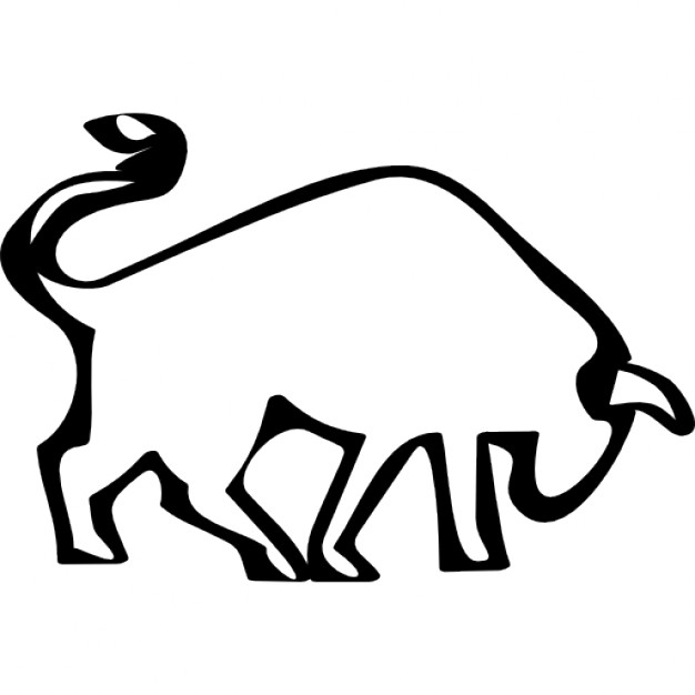Drawn bulls outline Icon Bull outline Free side