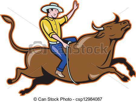 Bull clipart rodeo bull Silhouette of Bull isolatd cowboy