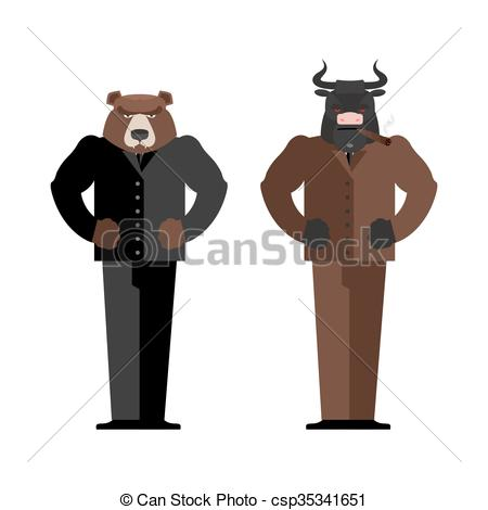 Bull clipart trading Businessman  bears and Businessman