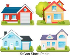 Bungalow clipart hut Town Private Set houses Art