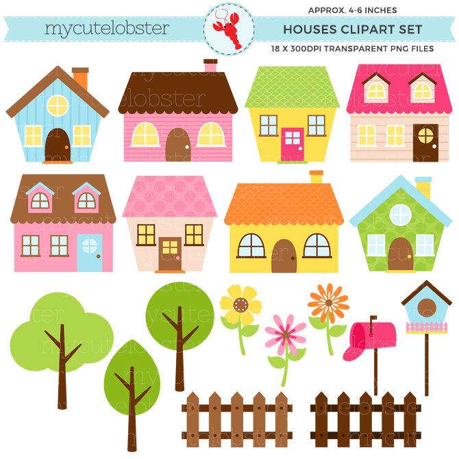 Bungalow clipart little house Clipart images Set Houses clipart