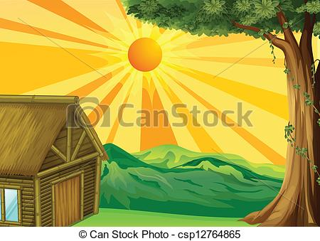 Bungalow clipart nipa Of A of sunset Art