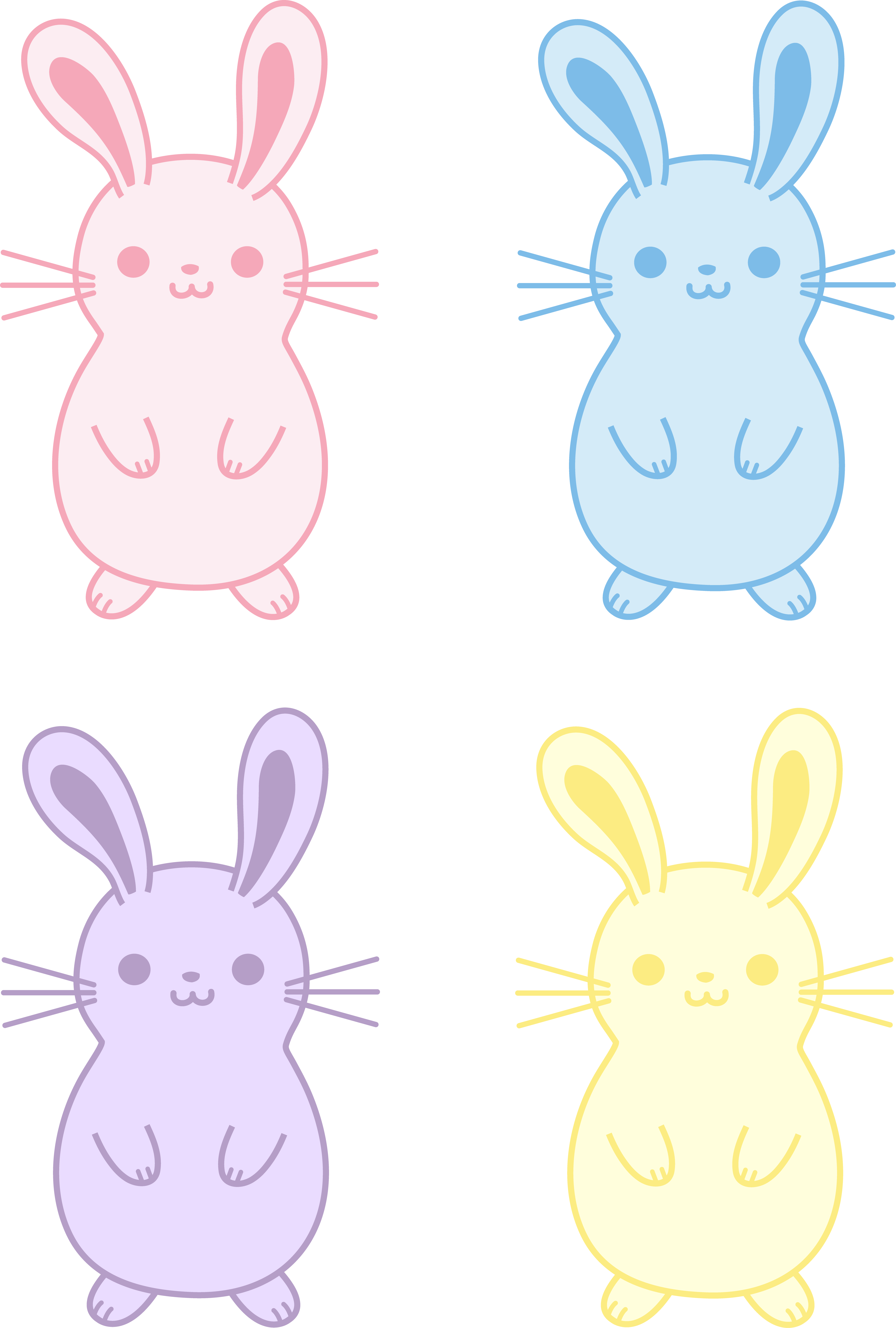 Drawn bunny hand drawn Cute Easter Colorful of Four