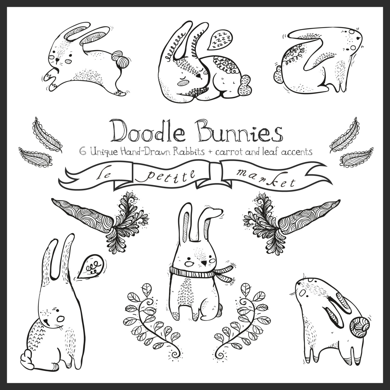 Drawn rabbit basic Bunny Cute digital Doodly Bunnies