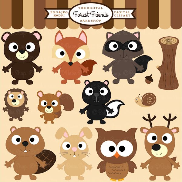 Wood clipart woodlands Clipart animals Forest Friends images