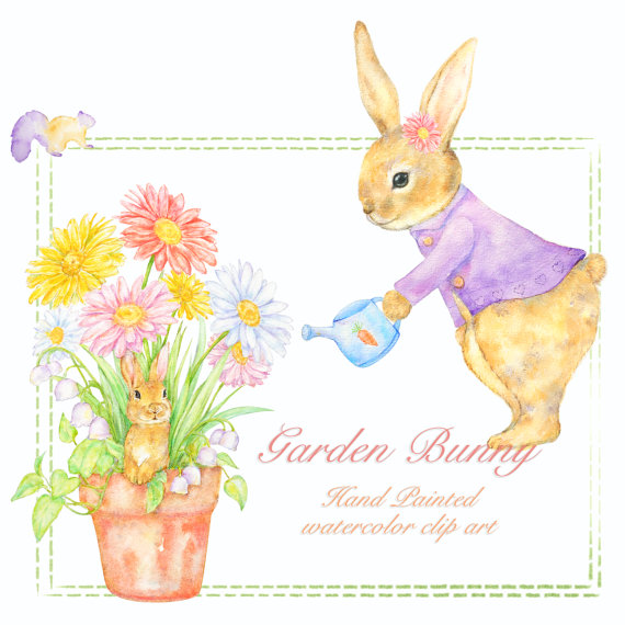 Bunny clipart mommy Bunny Watercolor Watercolor Clipart Rabbit