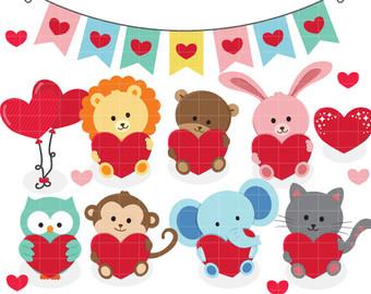 Animl clipart valentine Clipart owl hearts valentine Love