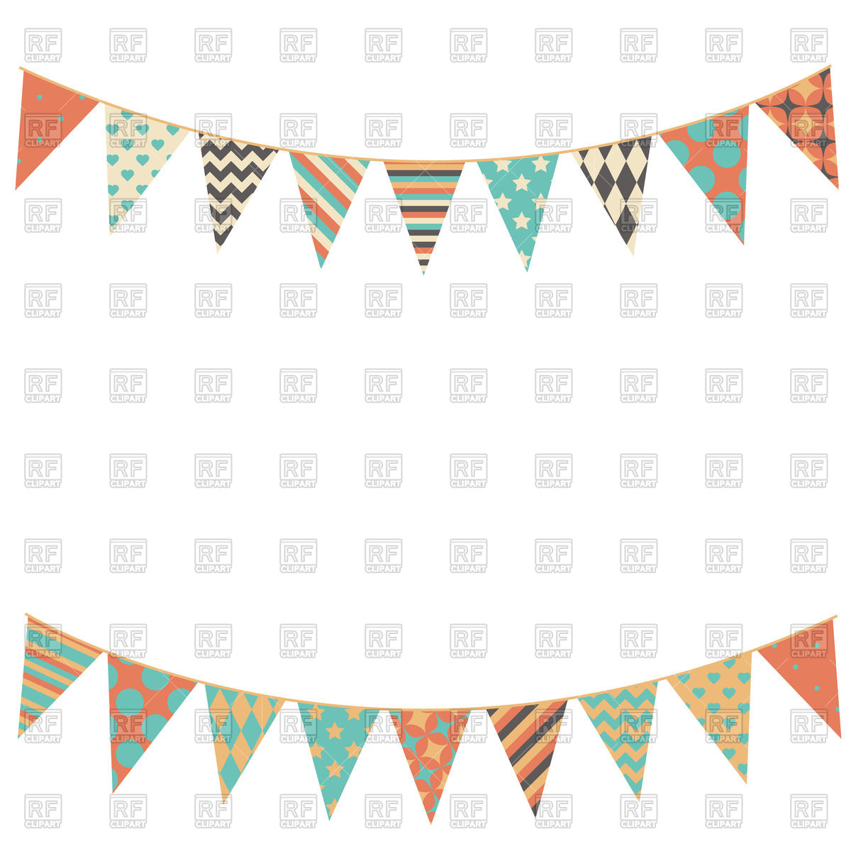 Bunting clipart Free Party collection flags Vector
