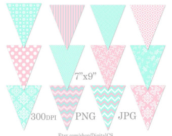 Decoration clipart party banner Of decorations bunting Pink mint