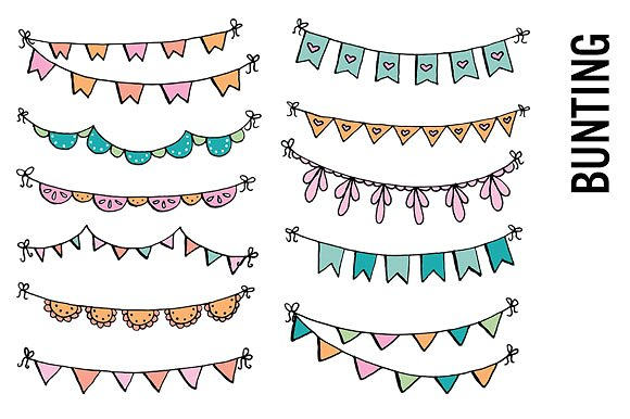 Drawn bunting Banner Art Doodle Bunting Banner