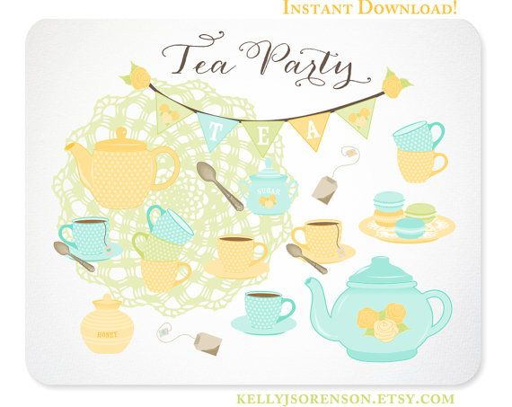 Bunting clipart bright Clipart Tea Party Party Tea