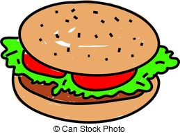 Burger clipart beef burger Toddler and white style Illustrations