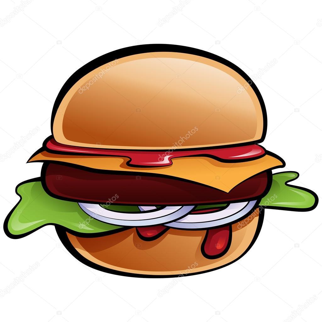 Burger clipart delicious food Classic American – burger Cartoon