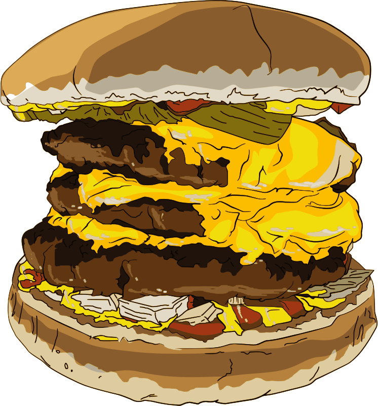 Burger clipart delicious food Triple Hamburger Free Art Free