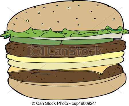 Burger clipart double Isolated  csp19809241 Vector Cheese