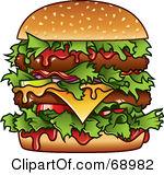 Burger clipart double  Clipart Double Cheeseburger
