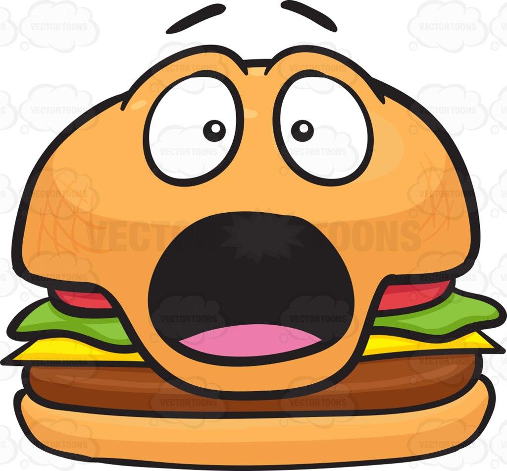 Burger clipart face Clipart  Cheeseburger Cartoon Shocked