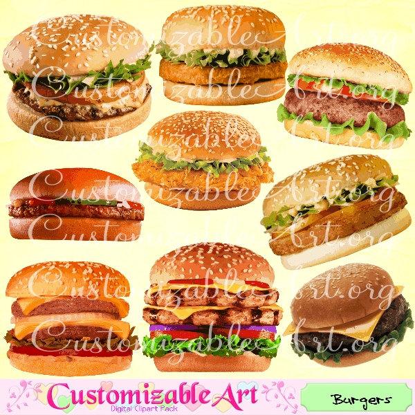 Hamburger clipart food item Clipart Hamburger Burgers Clip Digital