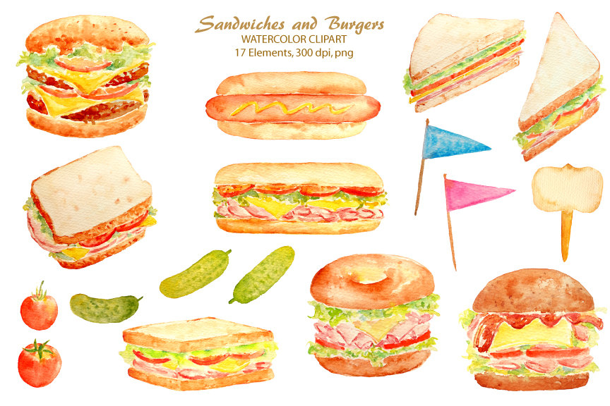 Sandwich clipart food item Watercolour Next dog Hand hot