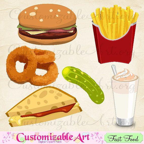Burger clipart fried food On Food CustomizableArt Digital Clip